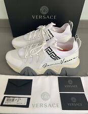 Versace Logo Print Webbing White Trainers Size 9.5 UK 43.5 EU Brand New Boxed