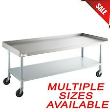 Pick Size Mobile Stainless Steel Table Stand Undershelf and Casters Backsplash