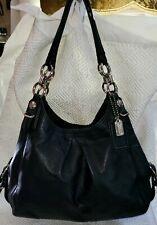 COACH Madison MIA MAGGIE Shoulder Bag JET BLACK ~All LEATHER~ Big HOBO #15742