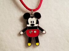 Red & White Mickey Mouse Pendant on Red Satin Cord Necklace w/ Lobster Clasp