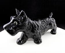 "ART POTTERY BLACK SCOTTIE DOG SCOTTISH TERRIER 9 1/4"" FIGURINE"