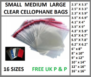 Garment TShirt Clear Cellophane DISLAY CELLO Bags With Self Seal Adhesive Tape