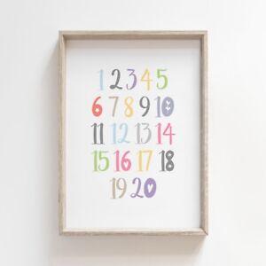 123 Kids Numbers Chart Nursery Print Educational Baby Room Wall Art Picture