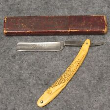 """H Boker Co 6-1/8"""" Straight Razor Good As Gold Engraved Blade Fancy Celluloid"""