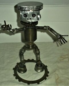 VINTAGE c.1970 HANDMADE ROBOT FLIPPING MIDDLE FINGER MADE CAR PARTS & GEARS vafo