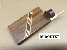 """Wooden Tobacco Dugout Set with pipe 4"""" Spring Loaded (3"""" Metal One Hitter)"""