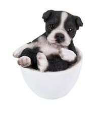 Black and White Boston Terrier  Puppy Dog Teacup Pet Pal Mini Figurine Statue