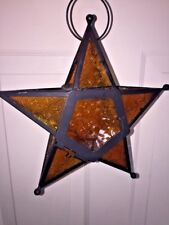 Vintage HANGING Art Deco Tealight MORAVIAN STAR HOLDER Stained AMBER Glass LAMP
