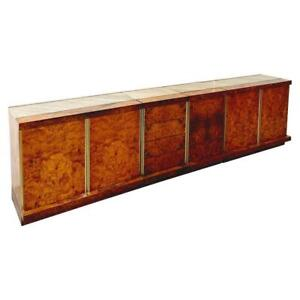 Four Modular Italian Burl Wood and Marble Cabinet, 1970