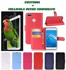 Custodia Cover Stand Libro x Huawei Y6 Pro 2017 / P9 Lite Mini + Pellicola Vetro