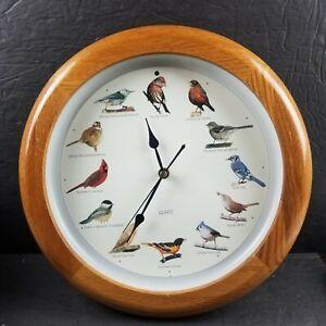 "Vintage Bird Singing Wood Wall Clock 13.5"" Quartz Finch Mockingbird Sparrow Jay"