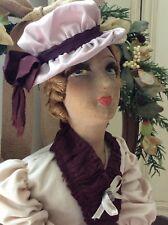 """Antique French Boudoir Bed Doll 35"""" ~Tete De Poupee De Salon ~1800's ~Collectors"""