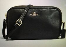 COACH NWT CROSSBODY POUCH PEBBLE LEATHER BLACK 2 ZIPPERED SECTIONS F65988