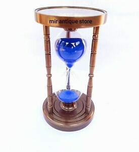 5 Minute's Beautiful Antique Decorative Brass Sand Timer With Compass