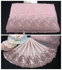 """7.5""""*1Y Embroidered Tulle Lace Trim~Dusty Pink+Light Brown~Morning Roses~Elegant"""