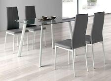 Conjunto mesa cristal Glass + 4 sillas Sora polipiel gris blanca comedor cocina
