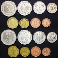 [D-5] Germany Set 8 Coins, 1 2 5 10 50 Pfennig+1 2 5 Mark, 1949-2001, real,UNC