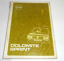 Workshop Manual / Werkstatthandbuch Triumph Dolomite Sprint Bauj. 1973-1980