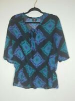 Mossimo Blouse Womens Size Medium M Sheer Blue Green Floral Geometric Top Shirt