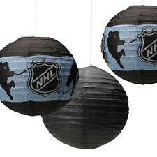 NHL HOCKEY PAPER LANTERNS (3) ~ Birthday Party Supplies Decorations Sports Black