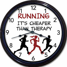 Running It's Cheaper Than Therapy Wall Clock Exercise Track Runner Jogger New