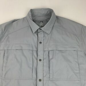 REI Button Front Shirt Men's XL Gray Mesh Pits Short Sleeve Camping Hiking Nylon