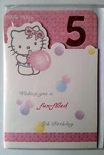 "c)Carte Anniverssaire 5 ans Hello Kitti ""5 th Birthday + enveloppes"
