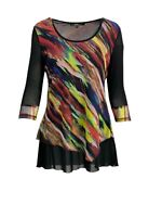 Lior Paris Women's Multicolor Abstrac  Print 3/4 Sheer Sleeve V-neck Tunic