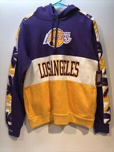 NWT Los Angeles Lakers LA Logo Palm Tree Hoodie Sweatshirt Purple & Gold Small