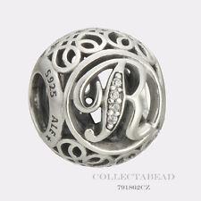 Authentic Pandora Sterling Silver Vintage  R Clear CZ Bead 791862CZ