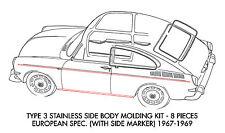 New VW Type 3 Body Molding Kit Stainless Steel 1967-1969 Euro Spec
