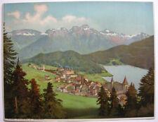 St. Moritz Moritzersee Engadin Graubünden Orig. Chromolithografie 1880