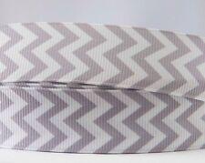1M X 22mm Grosgrain Ribbon Craft DIY Cake Decoration Hair Bows - Grey Chevron