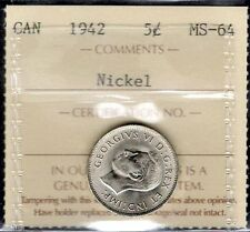 1942 NICKEL Five Cents ICCS Graded MS-64 aGEM ** BEAUTIFUL George VI Canada WWII