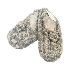 Lemon Ladies Knit Faux-Fur Lined Slipper Socks w Grippers Bootie Flannel Grey
