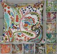 HANDMADE INDIAN ETHNIC COTTON FLORAL KANTHA CUSHION COVERS 16? X 16?