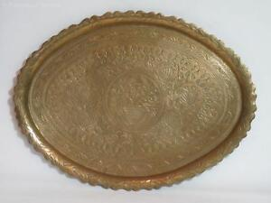 """Rare Antique Hand-Engraved Oval Brass Tray """"The Tree of Life"""" – Arts & Crafts"""