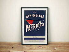 New England Patriots a4 Picture Type Poster Retro Style Vintage print