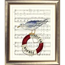 ART PRINT ORIGINAL VINTAGE MUSIC SHEET pagina SEAGULL Mare Nautico Mare Fotografia