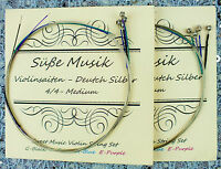 NEW  Süße Musik Violin String Set 4/4 - 2 Sets / 8 Strings - German Silver