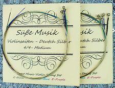 NEW  Süße Musik Violin String Set 4/4 - 2 Sets / 8 Strings - German Silver