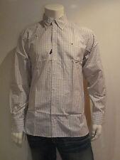 Tommy Hilfiger Low talla L hombre camisa de manga larga gris blanco