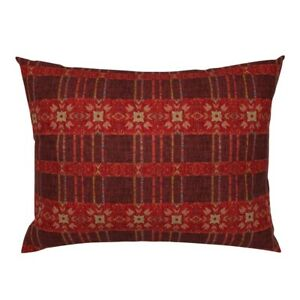 Ikat Red Weave Woven Threads Primitive Tribal Island Pillow Sham by Roostery