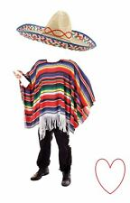Adult Mexican Fancy Dress Accessories Poncho and Sombrero