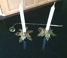 Holly Leaf Candle Holders Red Berries Brass Snuffer Candlestick Christmas Gift