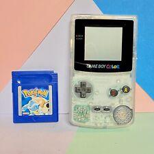 Nintendo Game Boy Colour Custom Transparent Shell Fitted! + Pokemon Blue Game!
