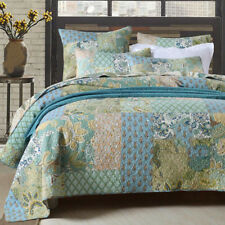 Green Tone Floral Quilted Coverlet Patchwork Bedspreads Set Queen King Size Bed