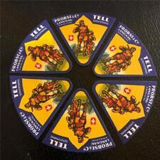 6 ORIGINAL VINTAGE SWISS TRIANGULAR CHEESE LABELS - PROBST & CO - TELL