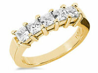 1 Carat total, 5 Princess cut Diamond Ring 14K Yellow Gold Wedding Band, E VS