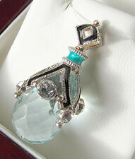 SALE ! MAGNIFICENT HANDMADE OF STERLING SILVER AQUAMARINE RUSSIAN EGG PENDANT
